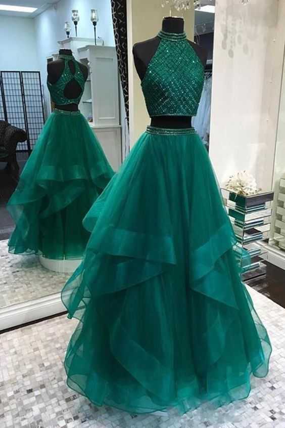 two piece dark green prom dresses