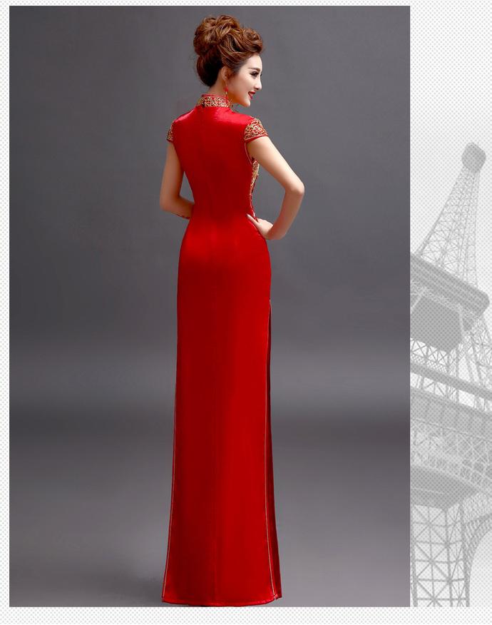 Red short-sleeved bride wedding wedding toast clothing dress cheongsam costume