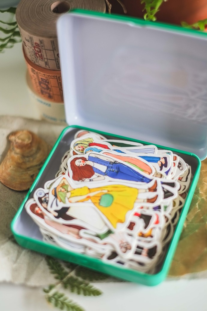 La Dolce Vita sticker set (140 pieces) in a tin - Sweet life - perfect for
