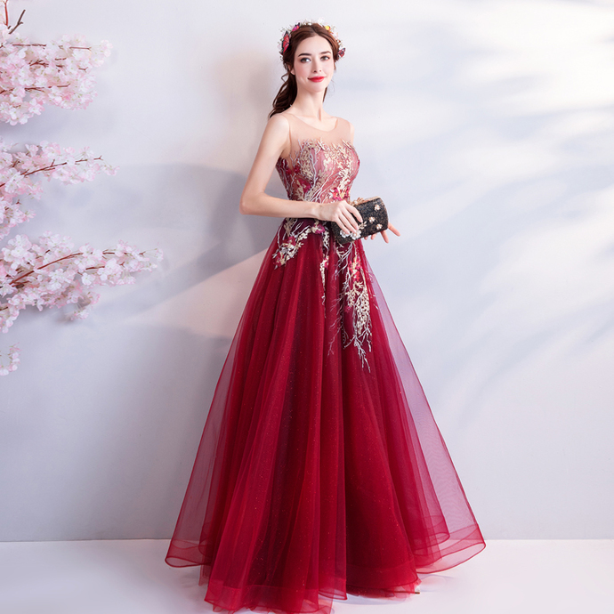 Noble luxury wine red bride wedding toast clothing wedding dinner annual meeting