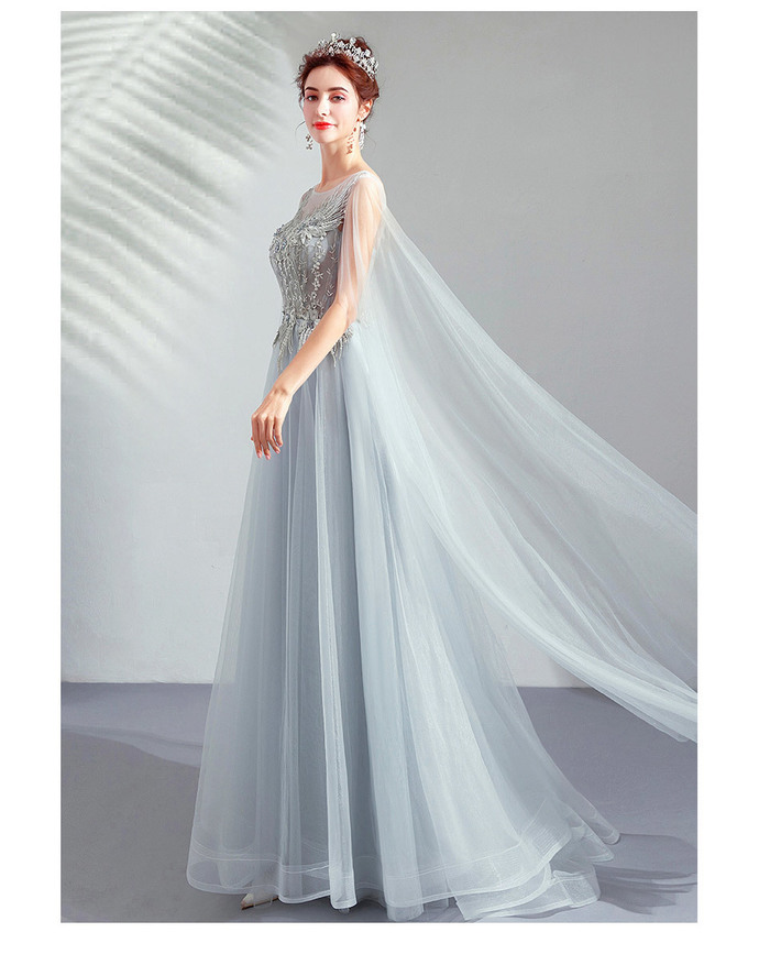 Elegant Grey Birthday Party Dinner Annual Performance Host Dress 8711