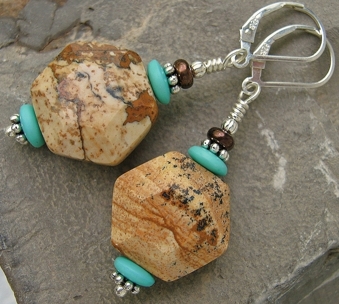 Natural Picture Jasper Geometric Earrings Sterling Silver Leverbacks Handcrafted