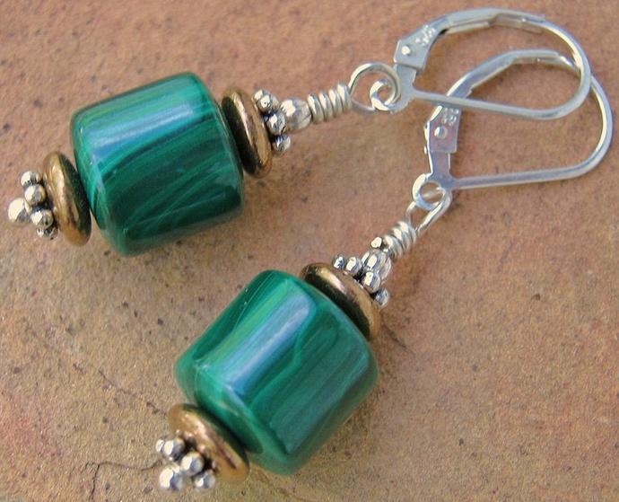 Genuine Malachite Stone Earrings w/ Sterling Silver Leverbacks Southwest Style