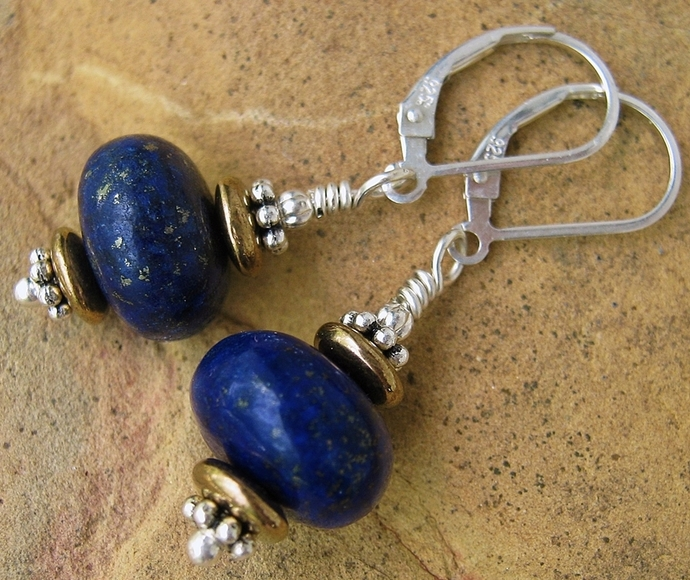 Gorgeous Lapis Stone Earrings w/ Sterling Silver Leverbacks Southwestern Style