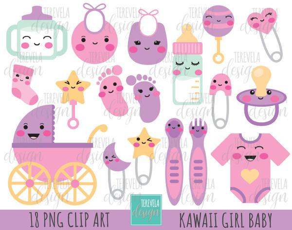 BABY GIRL clipart, baby shower clipart, kawaii baby, baby girl graphics,