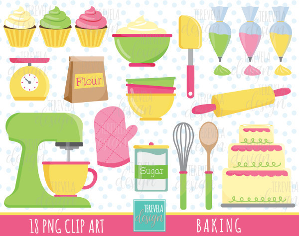 BAKING clip art, commercial use, kitchen clipart, baking tools, cupcakes, mixer,