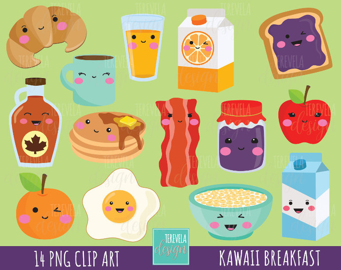 Breakfast clipart, food clipart, breakfast graphics, commercial use, kawaii