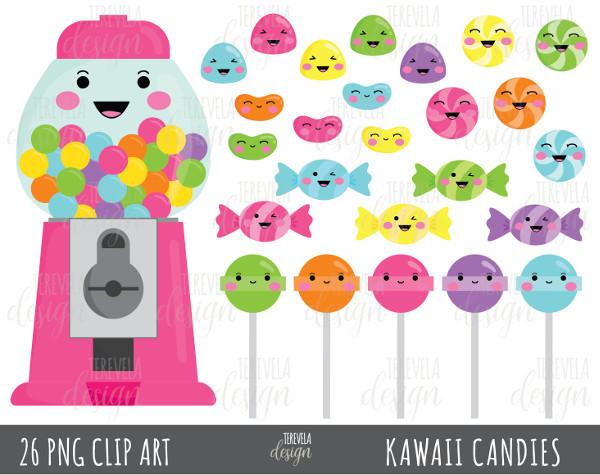 CANDY clipart, bubble gum clipart, kawaii candies clipart, pink bubble gum