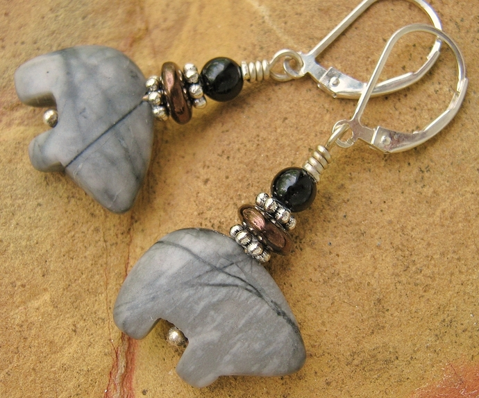 Zuni Bear Silverleaf Stone Earrings w/ Sterling Silver Leverbacks Native