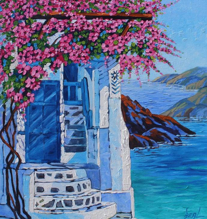 Original Oil Painting on Canvas Santorini Oia Bougainvillea 24 x 30  by Rebecca