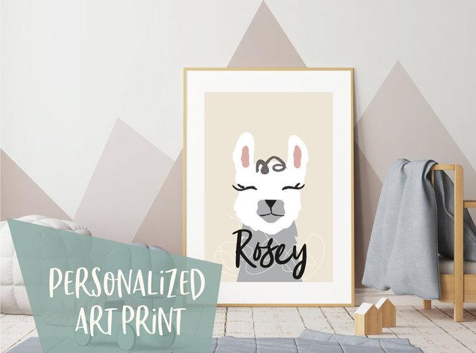 Personalized llama print, custom alpaca print, personalised nursery print,