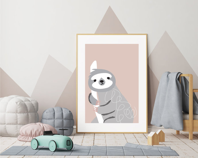 Illustrated sloth nursery art print