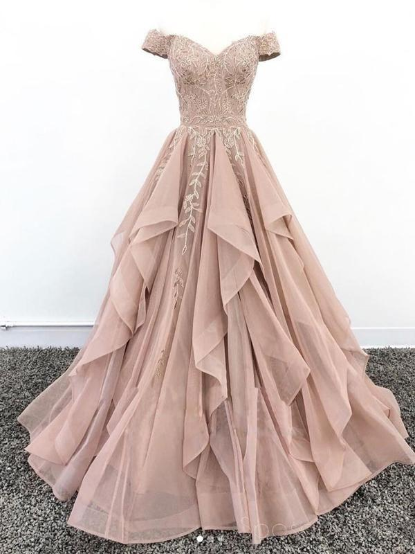 Off the Shoulder Tulle Champagne Appliques Prom Dress, Formal Evening Gowns