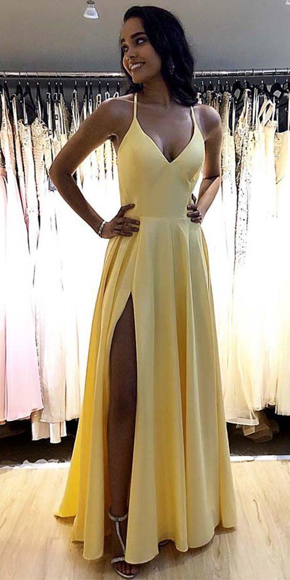 Custom Made Yellow Floor Length A Line Prom Dress, Split Slit Long Evening Party