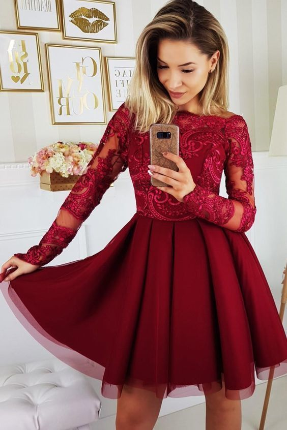 Burgundy Short Tulle Homecoming Dress, Long Sleeve Appliques Prom Dress, Evening