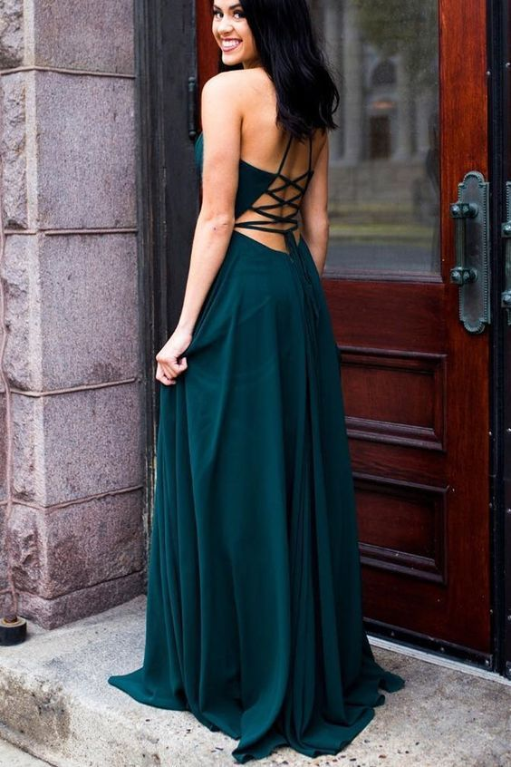 Sexy Sleeveless A Line Evening Dress, Long Prom Dress, Simple Chiffon Prom Gowns