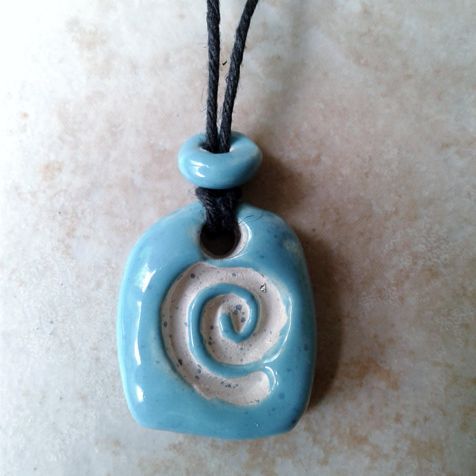 Aromatherapy Necklace Clay Essential Oil Diffuser Turquoise Spiral Pendant