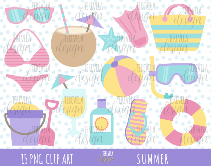 SUMMER clipart, beach clipart, commercial use, pool clipart, cute summer, pastel