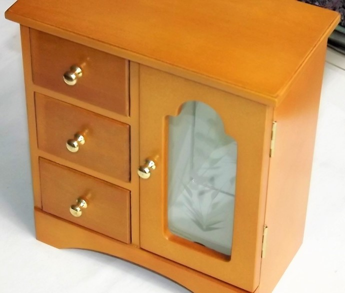 UP-CYCLED JEWELLERY CABINET in Burnt Orange. Jewellery Armoire. 3 drawer storage