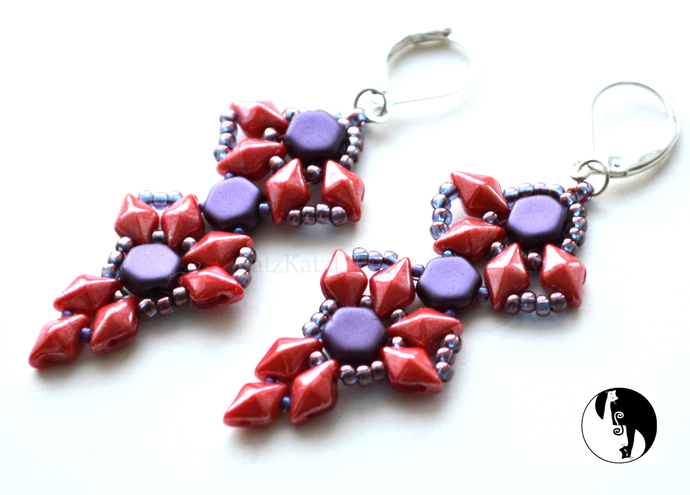 Drop of Honey Earrings Pattern by DKD Bead weaving tutorial