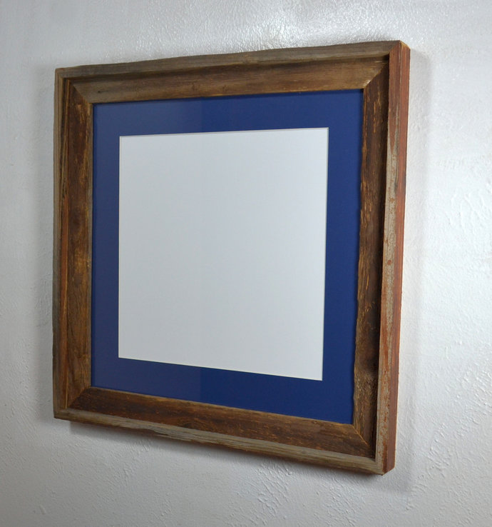 16x16 gray picture frame with blue mat for 12x12 prints or photos