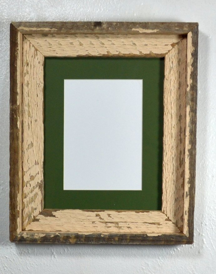 5 x 7 green mat in 8x10  shabby chic reclaimed wood frame ,complete,ready to