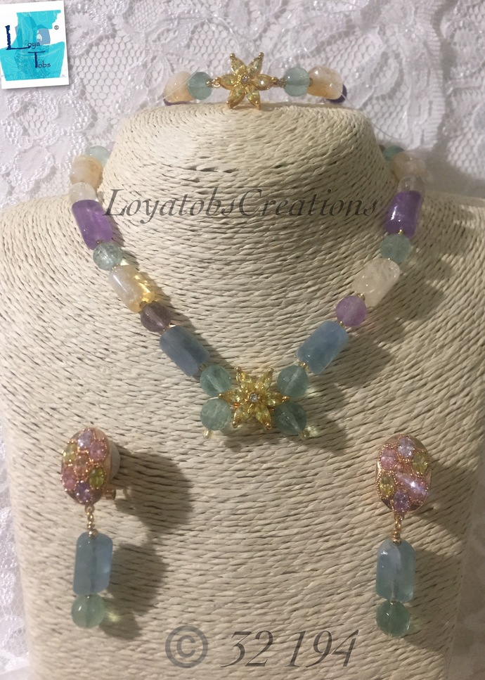 Colourful Trihedron Quartz Necklace, Earring and Bracelet Set