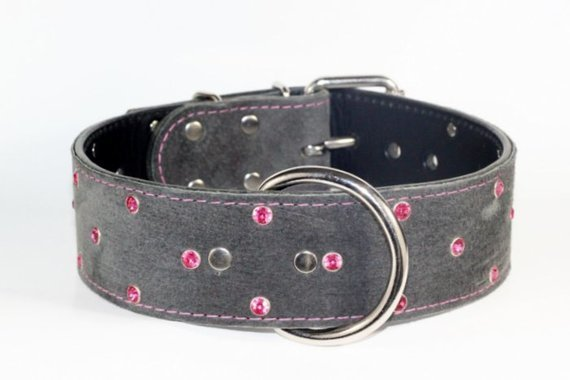 GRAY SUEDE COLLARS--HAND MADE