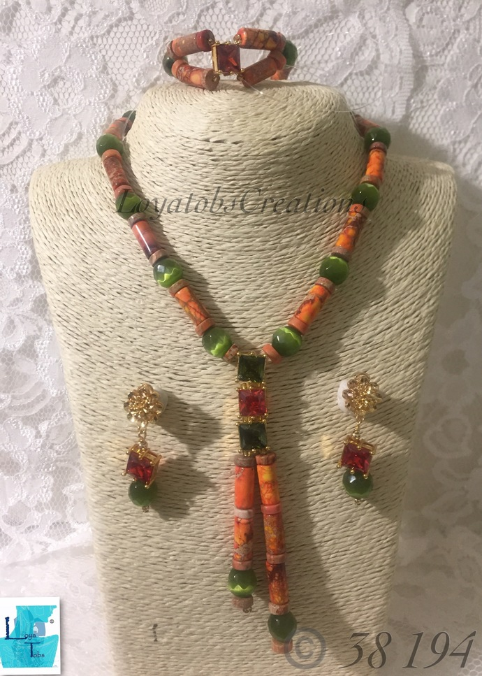 Imperial Jasper Necklace, Bracelet and Earring Set
