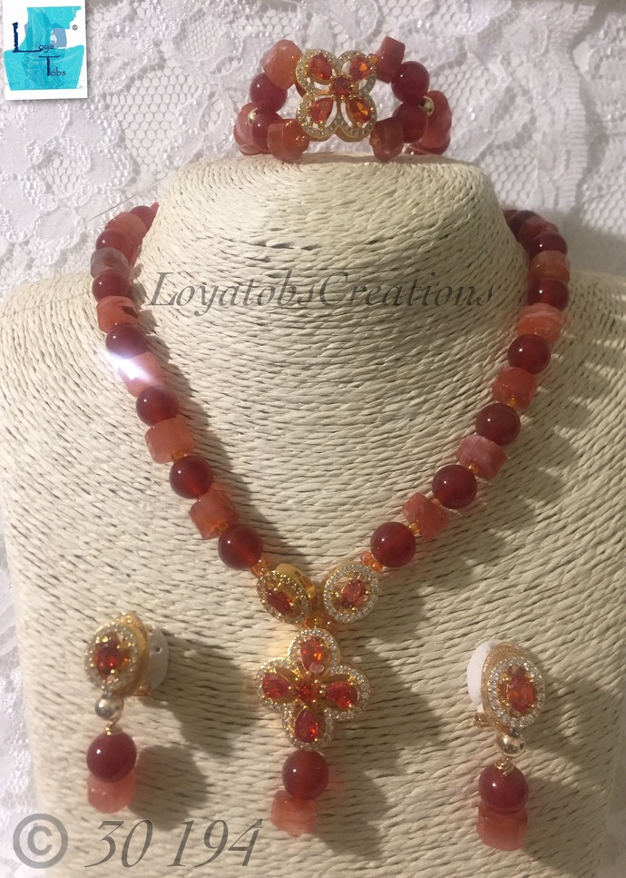 Red Agate Necklace, Bracelet and Earring Set