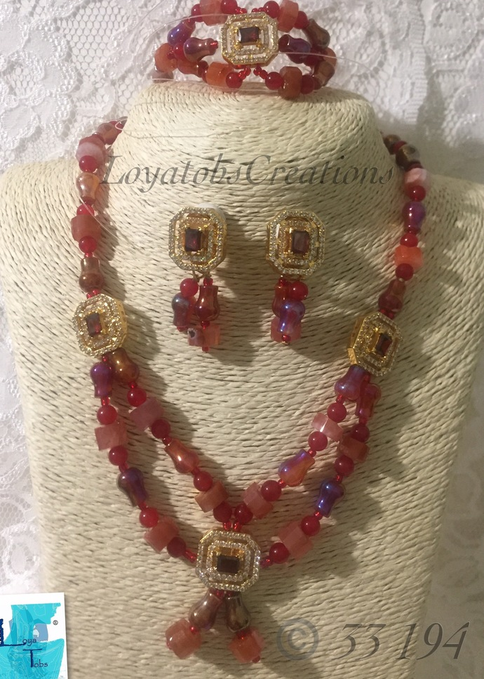 Pear Shape AB Coloured Agate Necklace, Bracelet and Earring Set