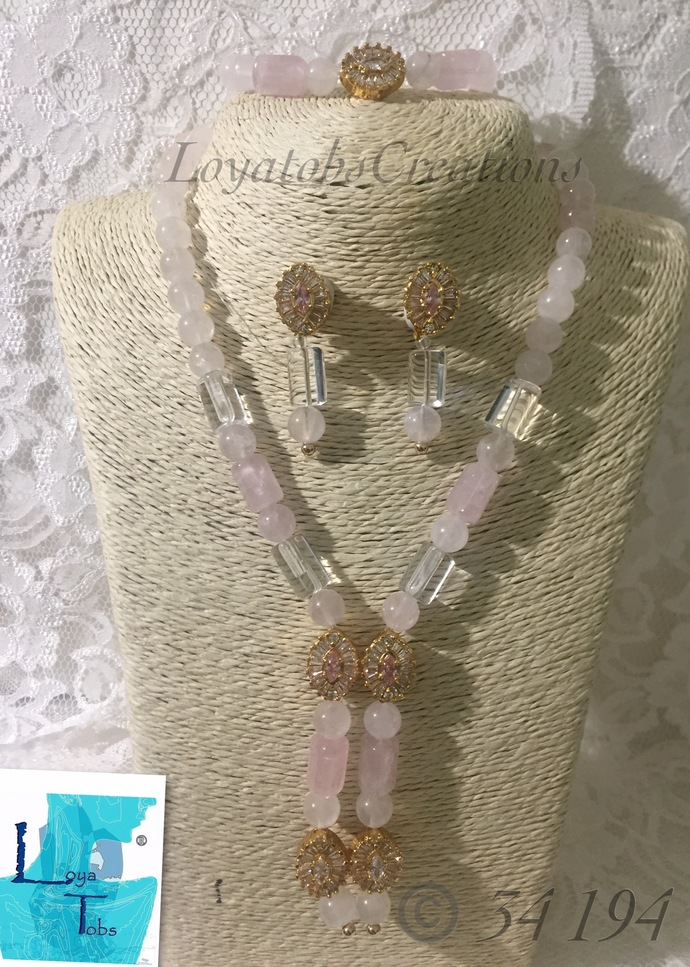 Trihedron Quartz Necklace, Earring and Bracelet Set