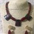 Gold Multi Colour Stone and Red Agate Necklace, Bracelet and Earring Set