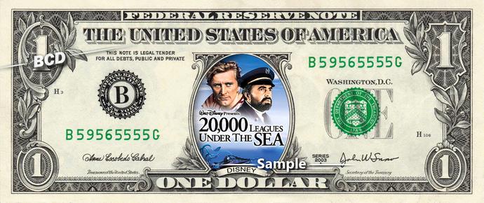 20,000 Leagues Under the Sea on a REAL Dollar Bill Disney Movie Cash Money