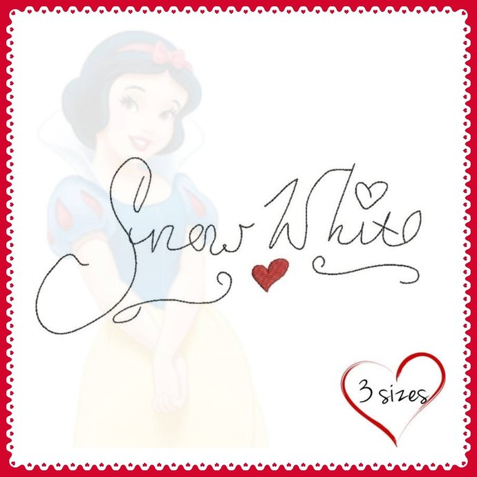 Snow White Autograph Embroidery Machine Design Pes Instant Digital file Princess