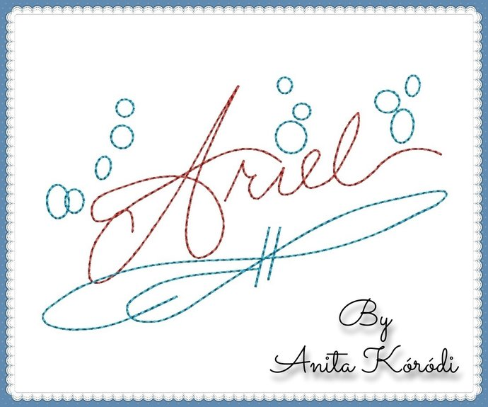 Ariel Autograph Embroidery Machine Design Little Mermaid Pes Instant Digital