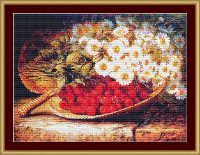 A Summer Still Life Cross Stitch Pattern - Instant Digital Downloadable Pattern