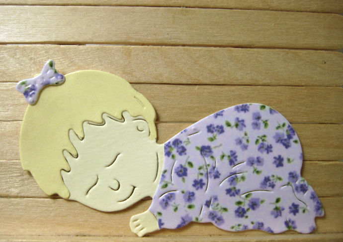 4pc Baby Sleeping Cutting Die Set, Baby Shower, Birth Announcement