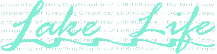 Script Lake Life with Water Waves beneath Vinyl Decal Water Sticker