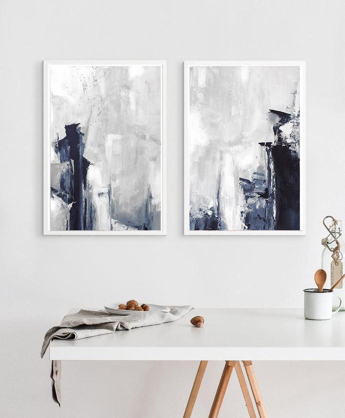 Grey Abstract Wall Art, Set of 2 Prints, Modern Abstract Art, navy and grey Art,