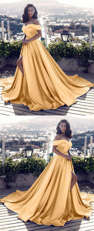 Gold Satin Off Shoulder Prom Dresses 2019 Long Formal Evening Gowns With Split