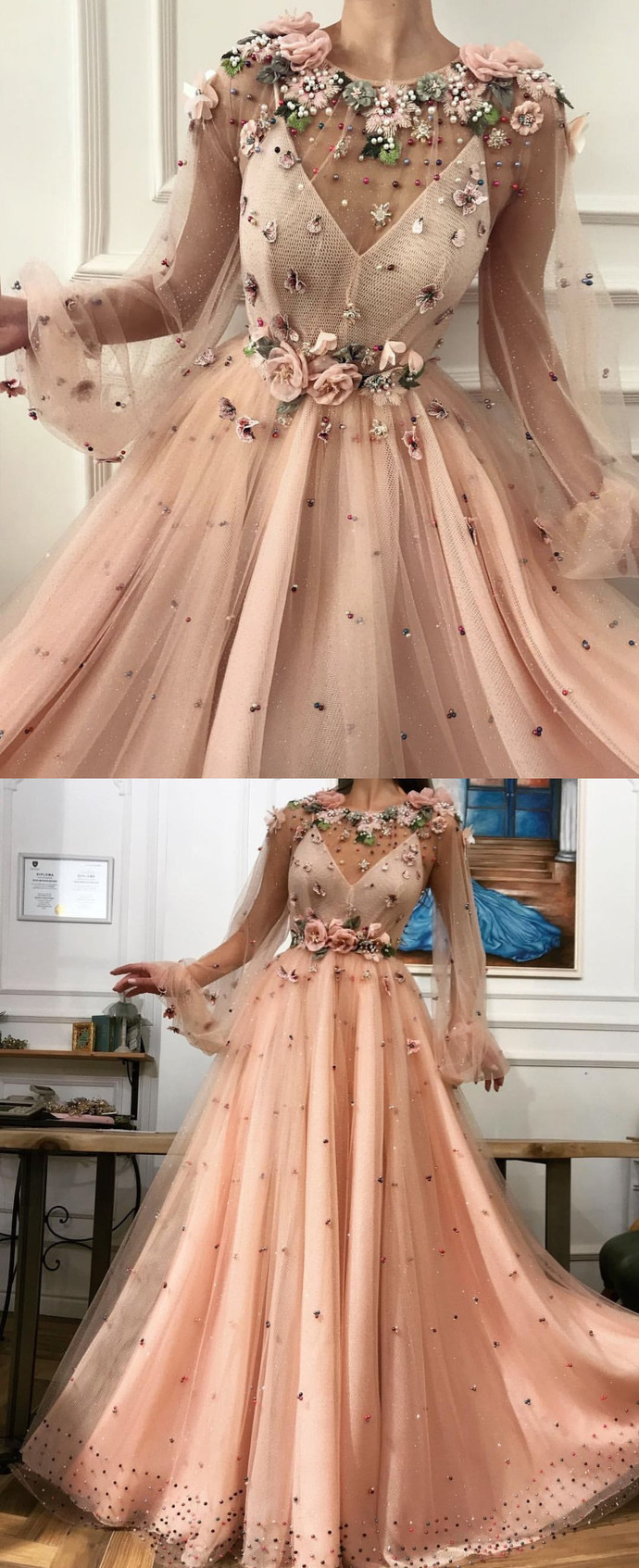 Illusion Champagne Flower Appliques Prom Dress,Long Sleeves Long Party Dress