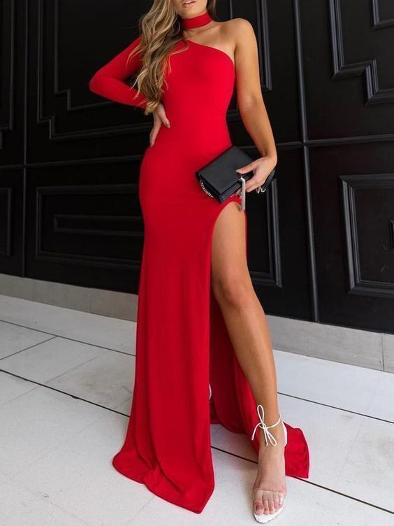 Charming Sheath Halter High Split Black /Red Elastic Satin Long Prom Dresses,