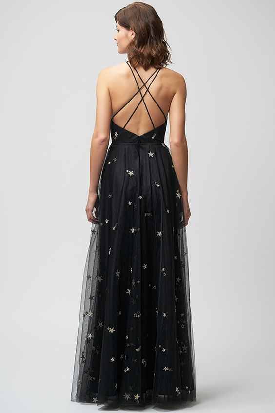 A line v neck black prom dress with stars