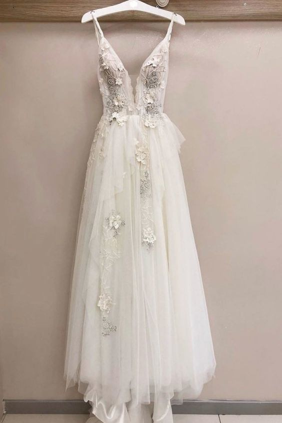 Gorgeous white v neck tulle lace long prom dress, white evening dress