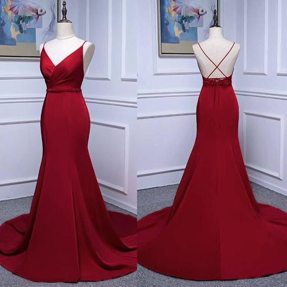 Ruby Red Mermaid Prom Dress Long Evening Party Gown