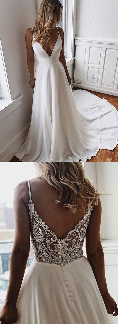 Sexy Deep V neck White Appliques Long Prom Dress with Straps, White Evening Gown