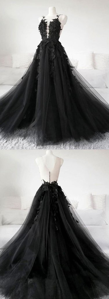 Unique Black Tulle V Neck Sheer Back Lace Applique Evening Dress, Formal Dress