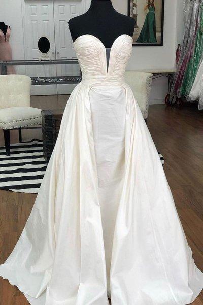 Sweetheart Ivory Satin Long A Line Prom Dress, Evening Dress D-040