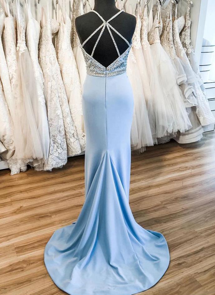 Sky Blue Satin V Neck Sweep Train Beaded Evening Dress, Formal Dress D-041